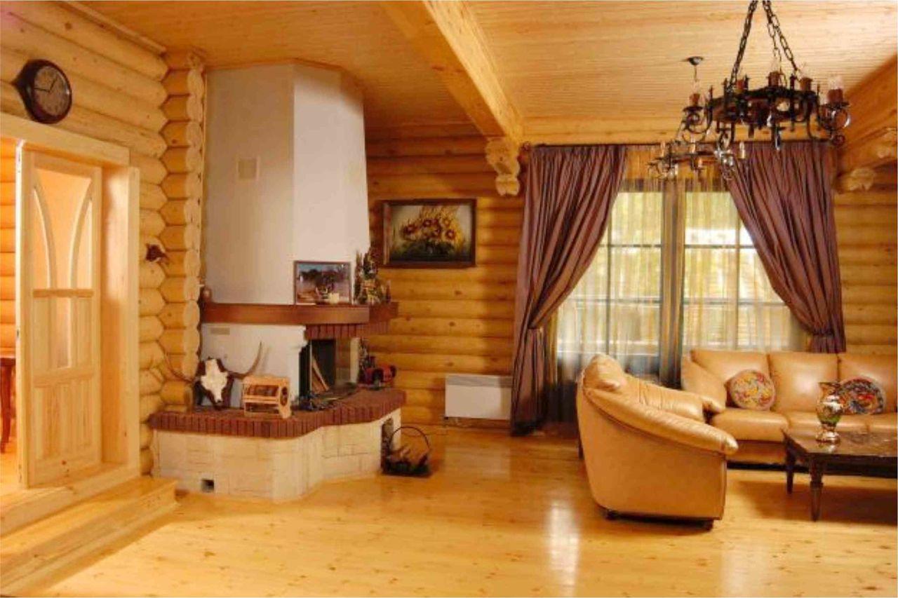 внутри дом из оцилиндрованного бревна фото